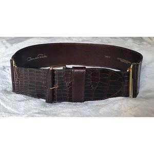 Oscar de la Renta Brown Leather/Alligator XL Belt